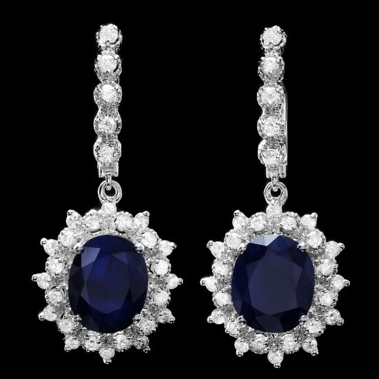 14k Gold 11ct Sapphire 1.60ct Diamond Earrings
