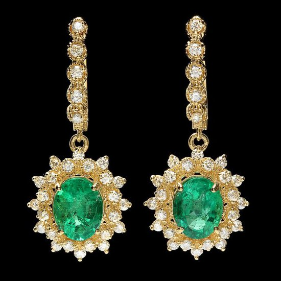 14k Gold 4ct Emerald 1.55ct Diamond Earrings