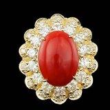 14k Yellow Gold 5.00ct Coral 1.80ct Diamond Ring