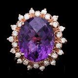 14k Rose Gold 8.50ct Amethyst 1.00ct Diamond Ring