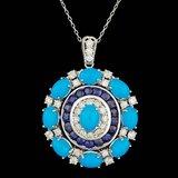 14k Gold 9.00ct Turquoise 1.70ct Diamond Pendant
