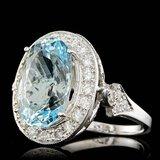 14k Gold 7.00ct Aquamarine 1.65ct Diamond Ring