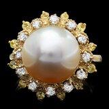14k Gold 12 X 12mm Pearl 0.40ct Diamond Ring