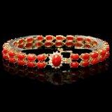 14k Gold 19ct Coral 0.50ct Diamond Bracelet