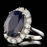 14k Gold 10.00ct Sapphire 1.90ct Diamond Ring