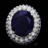 14k Gold 19.2ct Sapphire 0.90ct Diamond Ring