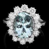 14k Gold 3.00ct Aquamarine 1.25ct Diamond Ring