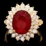 14k Yellow Gold 6.20ct Ruby 1.50ct Diamond Ring