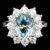 14k Gold 6.00ct Aquamarine 1.75ct Diamond Ring