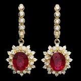 14k Gold 7.00ct Ruby 1.70ct Diamond Earrings