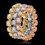 14K Yellow, White & Rose Gold 3.35cts. Diamond Ring