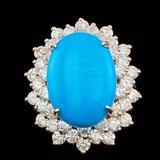 14k Rose 8.50ct Turquoise 3.00ct Diamond Ring