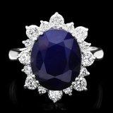 14k Gold 7.00ct Sapphire 1.00ct Diamond Ring