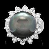 14k White Gold 13mm Pearl 1.55ct Diamond Ring