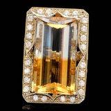 14k Gold 28.00ct Citrine 1.35ct Diamond Ring