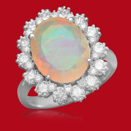 14K Gold 2.61ct Opal 1.32ct Diamond Ring