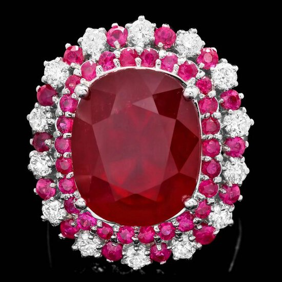 14k White Gold 17.5ct Ruby 0.88ct Diamond Ring