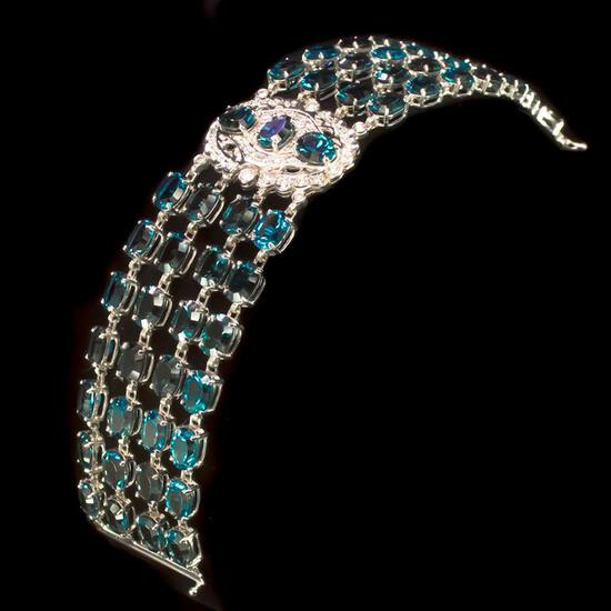 14K Gold 87.98ct Blue Topaz 1.05ct Diamond Bracelet