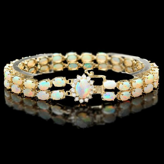 14k Yellow Gold 13ct Opal 0.55ct Diamond Bracelet