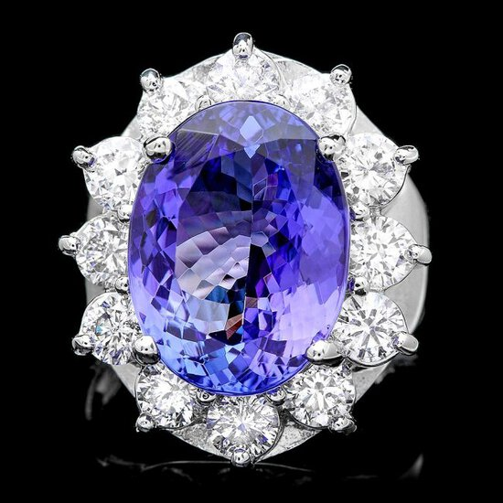 14k Gold 10.00ct Tanzanite 2.50ct Diamond Ring