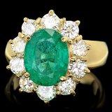14k Gold 4.00ct Emerald 1.80ct Diamond Ring