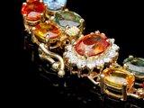 14k Gold 37ct Sapphire 0.45ct Diamond Bracelet