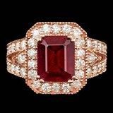 14k Rose Gold 5.00ct Ruby 1.50ct Diamond Ring