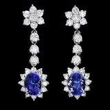 14k Gold 3ct Tanzanite 2.30ct Diamond Earrings