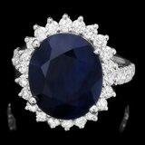 14k Gold 10.00ct Sapphire 1.30ct Diamond Ring