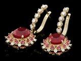 14k Gold 7.5ct Ruby 1.00ct Diamond Earrings