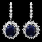 14k Gold 15.00ct Sapphire 1.90ct Diamond Earrings