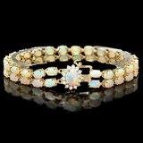 14k Yellow Gold 13ct Opal 0.55ct Diamond Bracelet