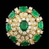 14k Gold 5.00ct Emerald 2.00ct Diamond Ring