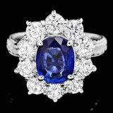 18k Gold 2.00ct Sapphire 2.00ct Diamond Ring
