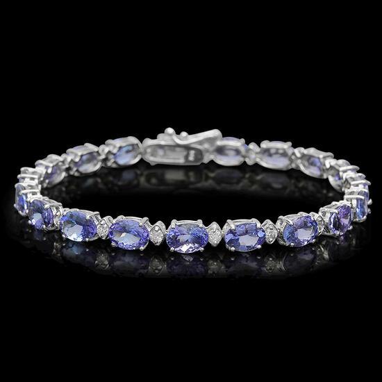 14K Gold 14.47ct Tanzanite 0.83ct Diamond Bracelet