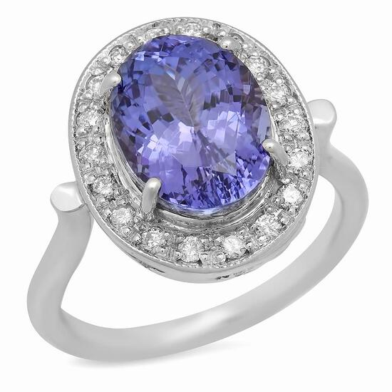14K Gold 5.54ct Tanzanite 0.33ct Diamond Ring