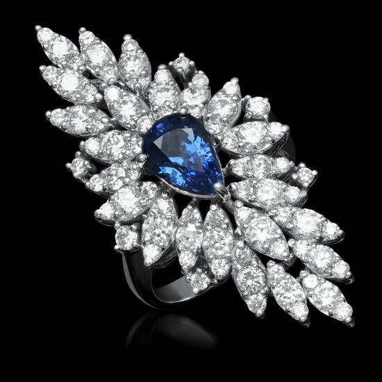 14K Gold 2.67ct Sapphire 3.31ct Diamond Ring