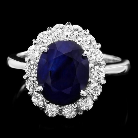 14k Gold 4.00ct Sapphire 1.00ct Diamond Ring