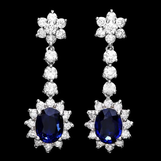 14k Gold 3ct Sapphire 3.25ct Diamond Earrings