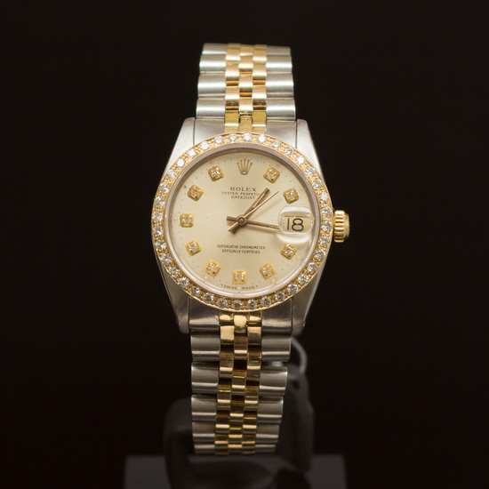 Rolex Two-Tone Datejust 31mm Diamond Dial Diamond Bezel Womens