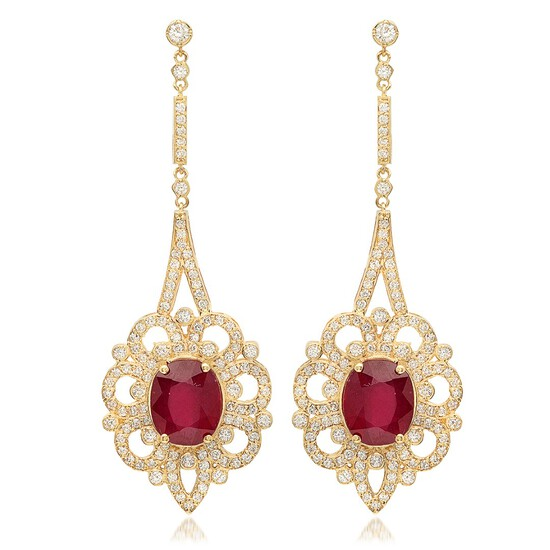 14K Yellow Gold, 8.10cts Ruby, 2.67cts Diamond Earring