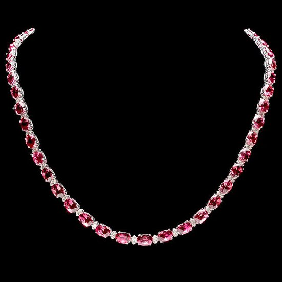 14k Gold 36ct Tourmaline 1.75ct Diamond Necklace
