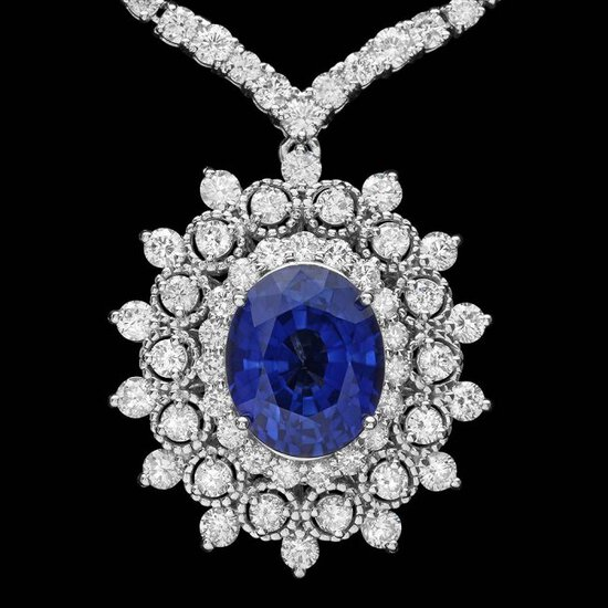 18k 6.20ct Tanzanite 10.75ct Diamond Necklace
