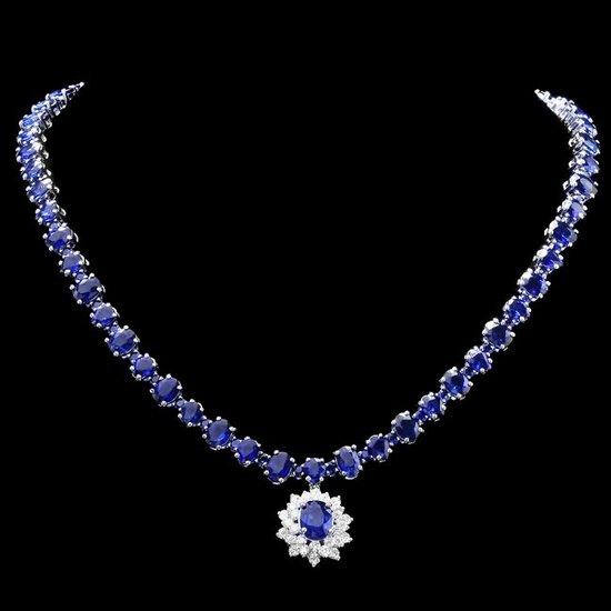 14k Gold 50ct Sapphire 2.00ct Diamond Necklace