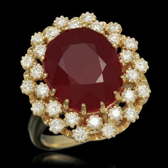 14K Gold 9.55ct Ruby 0.98ct Diamond Ring