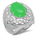 14K Gold 9.15ct Jadeite 0.70 Emerald 1.97cts Diamond Ring