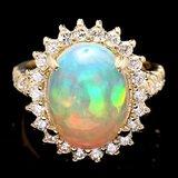 14k Yellow Gold 4.20ct Opal 1.10ct Diamond Ring