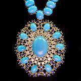 95.85ct Turquoise, 3.35ct Sapphire 1.78ct Diamond Necklace
