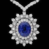 18k 6.20ct Tanzanite 10.75ct Diamond Necklace
