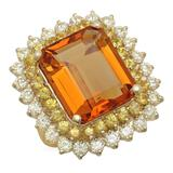 14K Gold 13.81ct Citrine 1.97ct Sapphire 2.39ct Diamond Ring